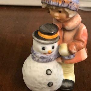 Hummel figurine girl with snow man vintage